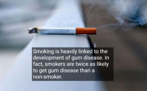 Cigarette on top of a rail because of affecting oral health, with text - California Oral and Facial Surgery